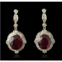 14KT Yellow Gold 24.63ctw Ruby and Diamond Earrings A5434