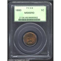 1880 1C MS65 Red PCGS. A well struck Gem, although the fields have a wavy surface (as made) due to w