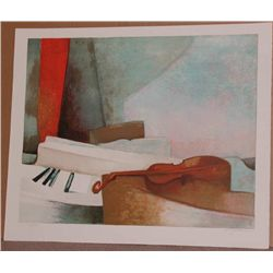 Claude Gaveau, Piano, Signed Lithograph