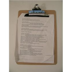 Movie 43 Screen Used Clipboard Movie Props