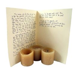 Falling Skies Candles and Child's Written Account of Early Days with in 2nd Mass' History Movie Prop