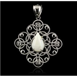 SILVER 2.12ct Opal and White Topaz Pendant Without Chain SLV271