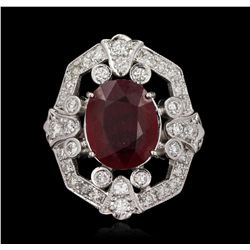 14KT White Gold 7.29ct Ruby and Diamond Ring A5485