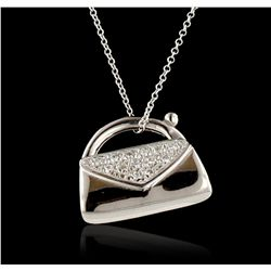 14KT White Gold 0.13ctw Diamond Pendant With Chain GB4438
