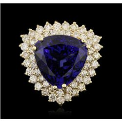 14KT Yellow Gold 19.10ct GIA Certified Tanzanite and Diamond Ring A5908