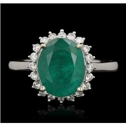 14KT White Gold 3.52ct Emerald and Diamond Ring A6533