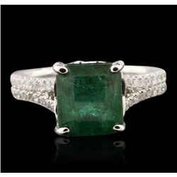 14KT White Gold 4.19ct Emerald and Diamond Ring A7030