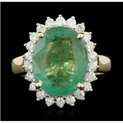14KT Yellow Gold 5.26ct Emerald and Diamond Ring A5314