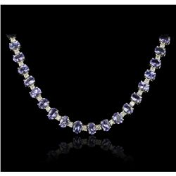 14KT White Gold 34.63ctw Tanzanite and Diamond Necklace A7253