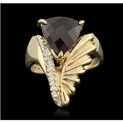 14KT Yellow Gold 3.00ct Amethyst and Diamond Ring GB3318