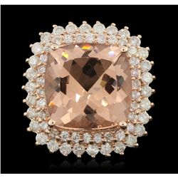14KT rose gold 11.33ct Morganite and Diamond Ring A6147
