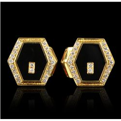 14KT & 18KT Gold Onyx & Diamond Cufflink & Tuxedo Stud Set GB2045