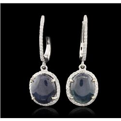 14KT White Gold 7.96ctw Sapphire and Diamond Earrings RM1341