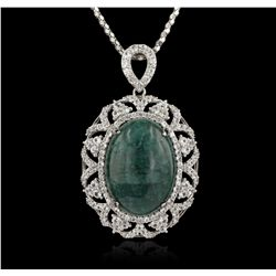 SILVER 30.31ctw Emerald and White Sapphire Necklace RM1298