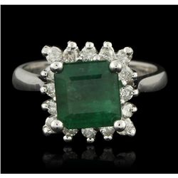 14KT White Gold 2.60ct Emerald and Diamond Ring A6138