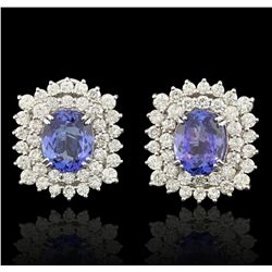 14KT White Gold 14.94ct Tanzanite and Diamond Pair Of Earrings  A5957
