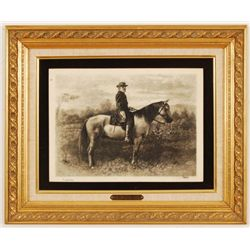 Robert E Lee & Traveler Etching Print