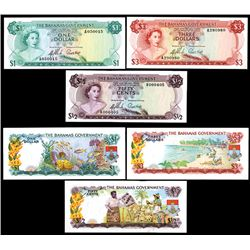 Bahamas Government, Commonwealth, 1965 Currency Note Act Banknote Trio.