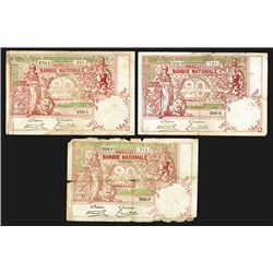 Banque Nationale de Belgique. 20 Francs. Group of 3 notes