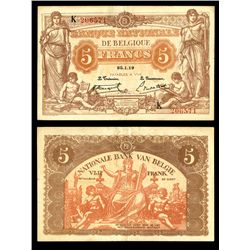 Banque Nationale de Belgique. 5 Francs, 1919. Pick #74b.