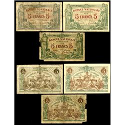 Banque Nationale de Belgique. 5 Francs. Pick #75a (1) and 75b (2). Group of 3 notes