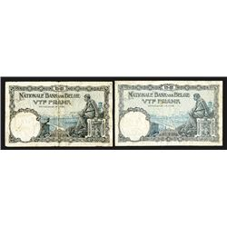 Nationale Bank Van Belgie, 5 Francs (2). 1924; 1925. Group of 2 Notes.