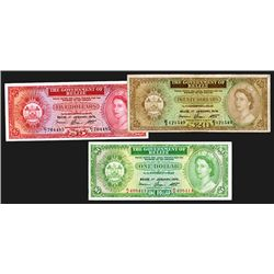 Belize. 1, 5, 20 Dollars. 1.1.1976. Group of 3 Notes.