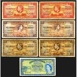 Bermuda Government. 5 shillings (4), 10 Shillings (2), 1 Pound. Group of 7 notes