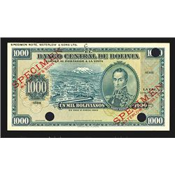 "Banco Central De Bolivia, 1928 ""Color Trial"" Specimen."