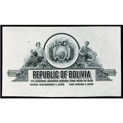 Republic of Bolivia, 1928 Issue Proof Bond Top.