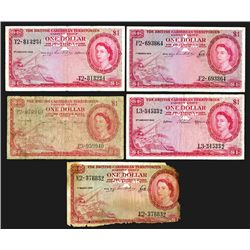 British Caribbean Territories, Eastern Group. 1 Dollar (5). Group of 5 notes