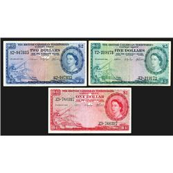 British Caribbean Territories. Eastern Group. 1, 2, 5 Dollars. Group of 3 notes