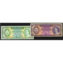 British Honduras. 1, 2 Dollars. Group of 2 notes.