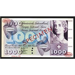 Schweizerische Nationalbank. 1954-74 Issue, 1000 Francs. Specimen.