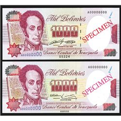 Banco Central De Venezuela, 1991 Issue Specimen ÒCorrect & ErrorÓ Pair.