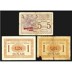 Kingdom of Serbes Croats and Slovens. 1 Dinar (2), 5 Dinara. Group of 3 notes