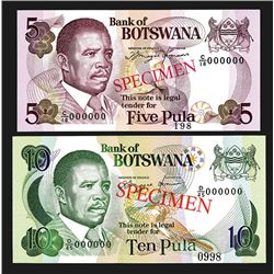 Bank of Bostwana, ND 1982-83 Issue Specimen Quartet.