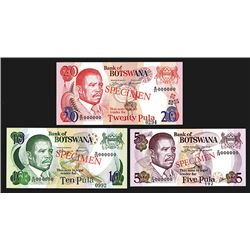 Bank of Botswana, 1992 to 1995 Specimen Banknote Trio.