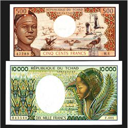 Requblique du Tchad. Ca.1974-81 Issues, 500, 10000 Francs.