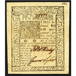 Fr. De-79 Delaware Colonial Bank Note 10 Shillings January 1, 1776  Graded   by PMG