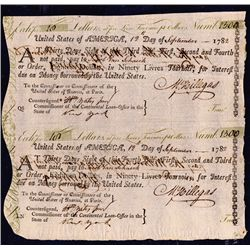 Sheet of Two 1782 Dated Continental Bills of Exchange Signed by Michael Hillegas.
