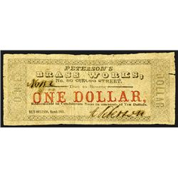 Peterson's Brass Works, 1862 $1 Scrip Note.