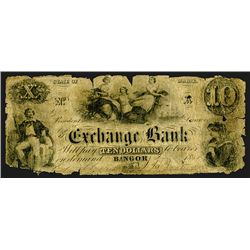 Maine. Exchange Bank, $10 1851 Issued Banknote.