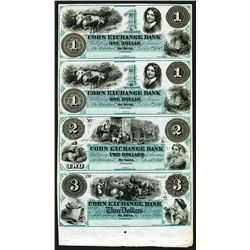 Corn Exchange Bank, 1860 Uncut Obsolete Sheet of 4 In Green.