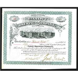 Pabst Brewing Company, 1889 issued Stock ITASB by Frederick Pabst as President & Charles Best.