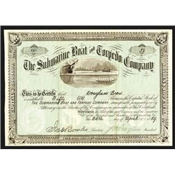 Submarine Boat and Torpedo Co., 1889 Issued Stock Certificate Rarity.