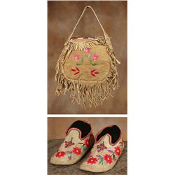 Sioux Quilled Pocketbook and Slippers