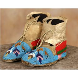 Crow Beaded Youth Moccasins