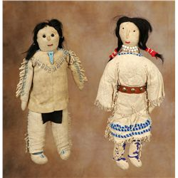 Sioux Brave and Squaw Dolls