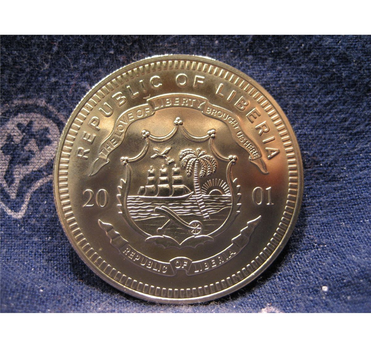 Image 2 2001 Republic Of Liberia 5 Five Dollar Coin On Pearl Harbor